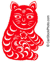 Chinese zodiac of cat - Chinese traditional paper-cut of...