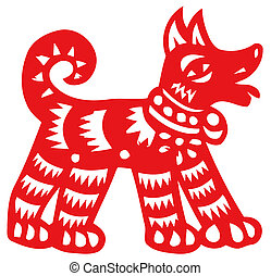 Chinese zodiac of dog - Chinese traditional paper-cut,...