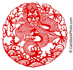 Chinese zodiac of dragon - Chinese traditional paper-cut ,...