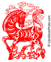 Chinese zodiac of horse - Chinese traditional paper-cut,...