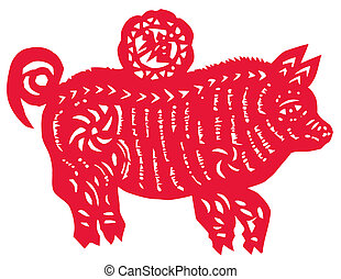 Chinese zodiac of pig - Chinese traditional...