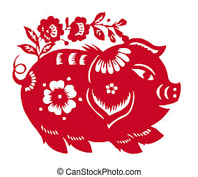 Chinese Zodiac of pig year - Chinese traditional culture,...