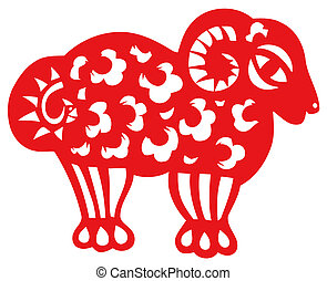 Chinese zodiac of sheep - Chinese traditional...
