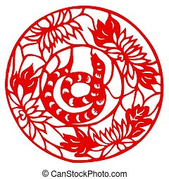 Chinese Zodiac of Snake Year - Chinese traditional art of of...