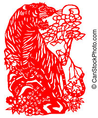 Chinese zodiac of tiger - Chinese traditional paper-cut,...