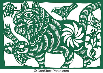 Chinese zodiac of tiger - Chinese traditional paper-cut, ...