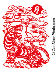 Chinese Zodiac of tiger year - Traditional Chinese culture,...