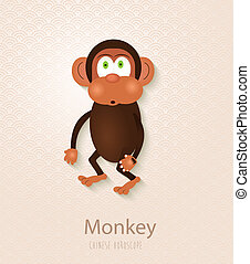 Chinese zodiac set Year of the Monkey