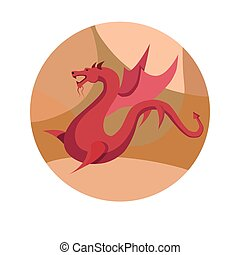 Chinese zodiac sign Dragon vector horoscope icon or symbol