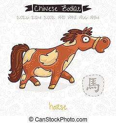 Chinese Zodiac. Sign Horse. Vector illustration