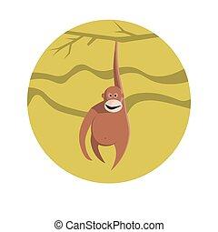 Chinese zodiac sign Monkey vector horoscope icon or symbol