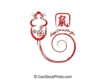 Chinese Zodiac Sign Year of Rat, Hand drawing red stroke brush style mouse. Happy Chinese New Year 2020. Translation : year of the rat. Vector isolated on white background