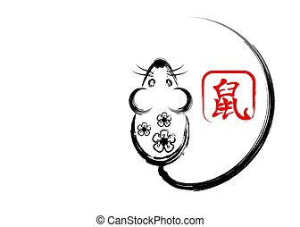 Chinese Zodiac Sign Year of Rat. Happy Chinese New Year 2020 year of the rat. greeting card holiday party. Hand drawing stroke brush style, isolate decor mouse on white background. Translation : rat