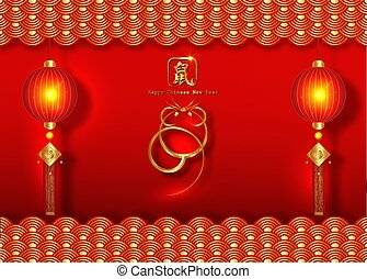 Chinese Zodiac Sign Year of Rat, Luxury Gold logo the rat. Happy Chinese New Year 2020, golden mouse icon and golden oriental traditional ornament symbols, isolated on red background. Hieroglyphic rat
