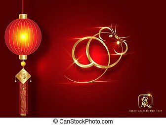 Chinese Zodiac Sign Year of Rat, Luxury Gold logo the rat. Happy Chinese New Year 2020, golden mouse icon and golden oriental traditional lantern ornament, isolated on red background. Hieroglyphic RAT