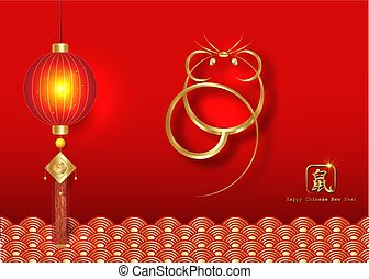 Chinese Zodiac Sign Year of Rat, Luxury Gold logo the rat. Happy Chinese New Year 2020, golden mouse icon and golden oriental traditional ornament symbols, isolated on red background. Translation rat