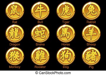 Chinese Zodiac signs hieroglyphs on gold coins. Rat, bull, tiger, rabbit, dragon, snake, horse, ram, monkey, rooster, dog, boar. Golden icons on a separate layer.