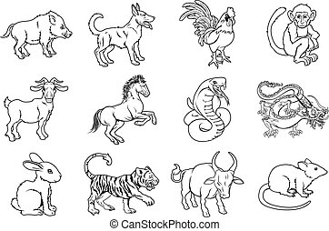 Chinese Zodiac Signs - Illustrations of all twelve Chinese...