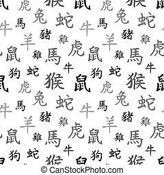 Chinese zodiac symbols, black hieroglyphs, seamless pattern