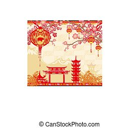 Chinese year of the pig greeting card  Chinese new year