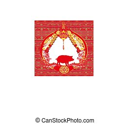 Chinese zodiac the year of Pig - frame