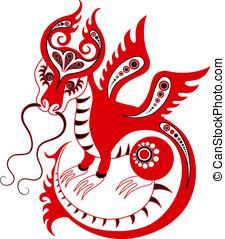 Chinese zodiac. Year of the dragon - Stylized chinese dragon...