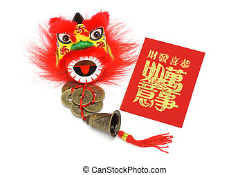Chineses new year ornaments and red packet