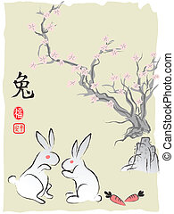 Chinese's Rabbit Lunar year, Ink Painting