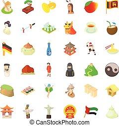 chinesische kultur, heiligenbilder, satz, karikatur, stil