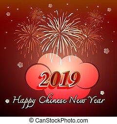 chinesisches , 2019, jahr, neu , feier, glücklich