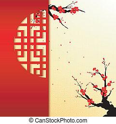 chinesisches , blüte, kirschen, hintergrund, jahr, neu