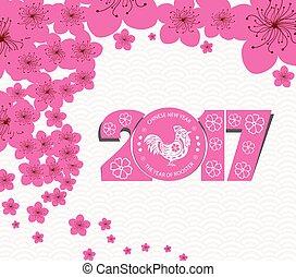 chinesisches , blüte, pflaume, 2017., jahr, neu