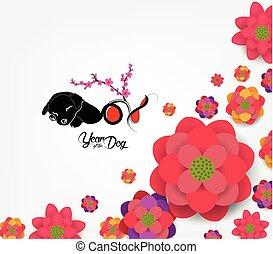 chinesisches , blüte, pflaume, -, hund, hintergrund., 2018, jahr, neu