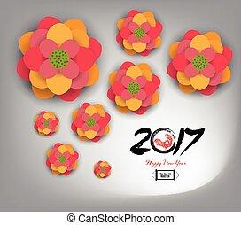 chinesisches , blüte, pflaume, jahr, neu , 2017
