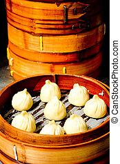 chinesisches , dämmerige summe, klöße, lebensmittel, in, shanghai, porzellan