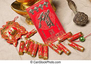 chinesisches , festlicher, verzierung, lunar, hintergrund,...