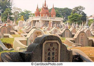 chinesisches , friedhof, in, kanchanaburi, thailand