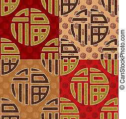 chinesisches , fu, gut glück, seamless, kunst