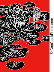 chinesisches , gemälde, von, lotos