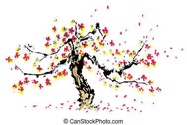 chinesisches , gemälde, von, sakura