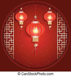 chinesisches , grüßen karte, hintergrund, jahr, neu , rotes