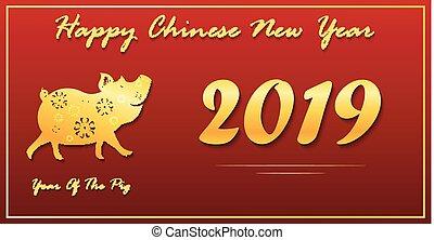 chinesisches , gruß, 2019, jahr, neu , karte, glücklich