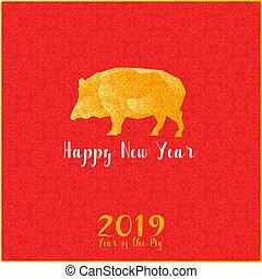 chinesisches , gruß, pig., card:, jahr, neu , 2019., glücklich