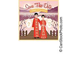 chinesisches , hochzeitspaar, plakat