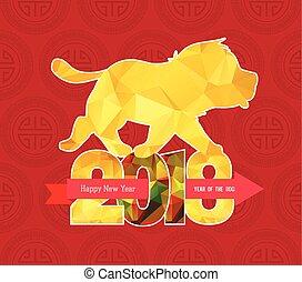 chinesisches , hund, polygonal, 2018, jahr, neu