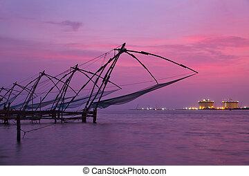 chinesisches , kerala, indien, fishnets, kochi, sunset.