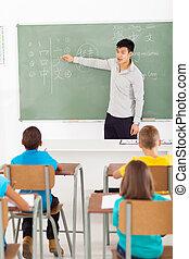 chinesisches , lehrer, unterricht, gruppe, von, grundschule, studenten