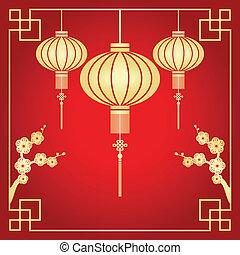 chinesisches neues jahr, grüßen karte