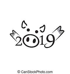 chinesisches , pig., 2019, jahr, neu , glücklich