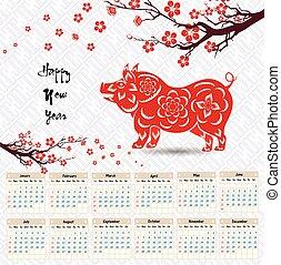 chinesisches , pig., 2019, jahr, neu , kalender, glücklich